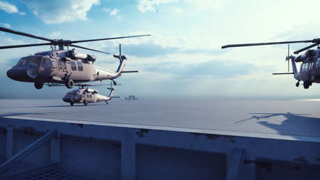 Military helicopters Blackhawk take off from an aircraft carrier at clear day in the endless blue sea. 3D Rendering Foto de archivo