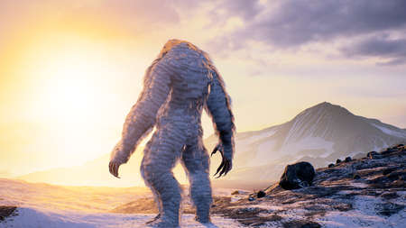Bigfoot in the snowy mountains on a beautiful winter morning. Yeti in the mountains. Illustration for fabulous, fiction or fantasy backgrounds. 3D Rendering. Imagens
