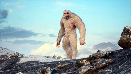 Bigfoot in the snowy mountains on a beautiful winter morning. Yeti in the mountains. Illustration for fabulous, fiction or fantasy backgrounds. 3D Rendering. Standard-Bild