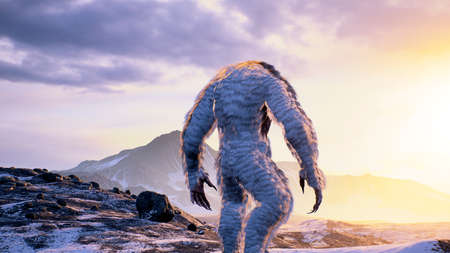 The Yeti enjoys the morning sunrise, in the beautiful snowy mountains. Yeti in the winter mountains. Illustration for fabulous, fiction or fantasy backgrounds. 3D Rendering.