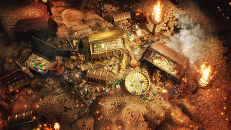 Pirate treasures in a dark cave. Old coins, diamonds, and gold treasures. A lot of jewelry made of gold statuettes, precious stones, bracelets and chests. 3D Rendering. Standard-Bild