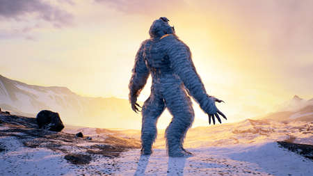 Sasquatch in the snowy mountains on a beautiful fog winter morning. Bigfoot in the mountains. Illustration for fabulous, fiction or fantasy backgrounds. 3D Rendering. Imagens