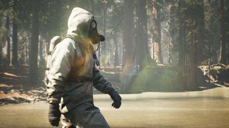 A Stalker in a chemical protection suit and a gas mask walks through a summer Sunny forest. The concept of a post-apocalyptic world after a pandemic. 3D Rendering.