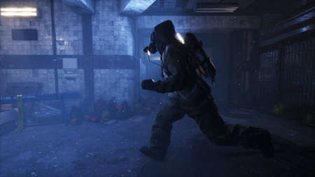 Stalker runs along an abandoned subway. The concept of a post-apocalyptic world after a nuclear war. 3D Rendering.
