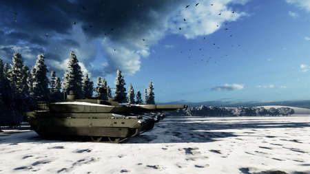 A military tank in the middle of a winter field shoots at an enemy target. Special operation of the military. 3D Rendering. Imagens