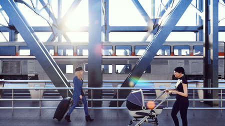 People cross the railway bridge on a sunny morning when a passenger train passes by. 3D Rendering. Imagens