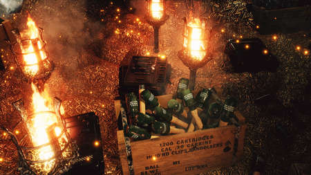 The arsenal of weapons. Bullets, boxes of explosives. Military boxes with weapons and ammunition. The military warehouse is filled with weapons for the upcoming war conflict. 3D Rendering. Imagens