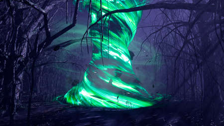 A magical tornado in a dark mystical misty forest. A fairy-tale scary forest with tall trees in a thick fog. 3D Rendering. Imagens