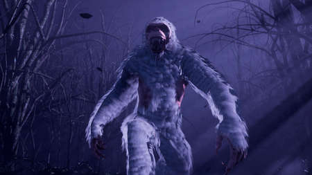 Bigfoot runs through a misty mystical forest at night. The Yeti is walking in a dark scary forest. Illustration for fabulous, fiction or fantasy backgrounds. 3D Rendering.