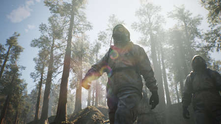 Escape of survivors from cities from the pandemic to the deserted forest. The concept of a Stalker who has survived a nuclear, chemical war, or pandemic. 3D Rendering.