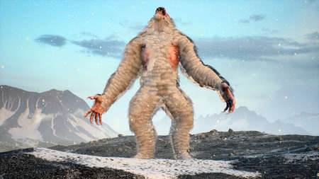 Sasquatch in the snowy mountains on a beautiful fog winter morning. Bigfoot in the mountains. Illustration for fabulous, fiction or fantasy backgrounds. 3D Rendering. Standard-Bild