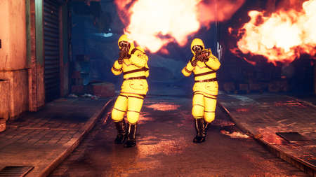 Men in yellow protective suits disinfect the city's infected territory with a flamethrower. People in bacteriological suits and gas masks.