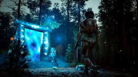 Un fantastique portail antique lumineux gardé dans une forêt sombre et brumeuse mystique. Rendu 3D. Banque d'images