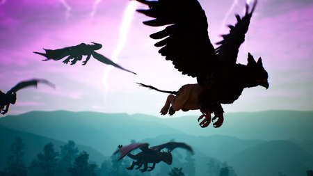 Amazing magical unusual creatures fly over the mysterious night forest against the background of lightning flashes. Illustration for fantasy, fiction or fabulous backgrounds. 3D Rendering.