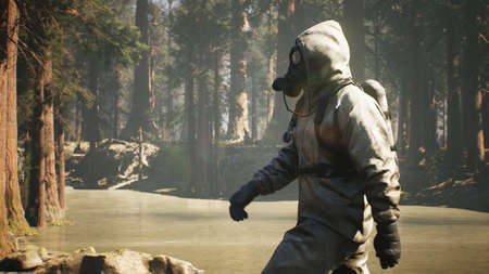 A Stalker in military protective clothing and a gas mask walks through a summer sunny forest. The concept of a post-apocalyptic world after a nuclear war. 3D Rendering.