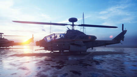 Military helicopters take off from an aircraft carrier in the early morning. 3D Rendering. Imagens