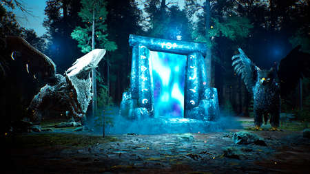A fantastic luminous ancient portal to another world, guarded by fabulous animals, in a mystical misty dark forest. 3D Rendering.