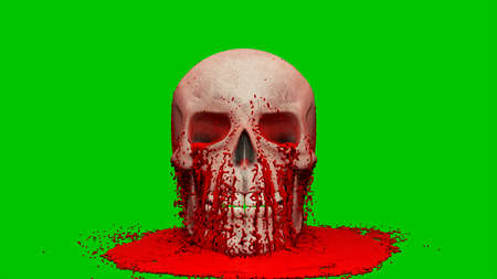 Thick red blood pours onto the human skull. 3D Rendering. Imagens - 147901098