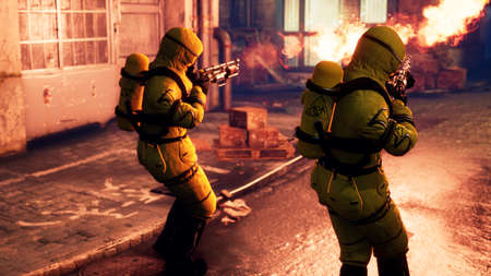 Men in yellow protective suits disinfect the citys infected territory with a flamethrower. People in bacteriological suits and gas masks. 3D Rendering. Imagens