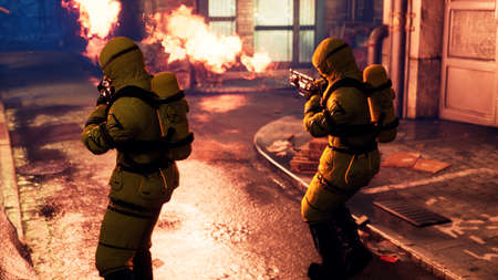 Men in yellow protective suits disinfect the citys infected territory with a flamethrower. People in bacteriological suits and gas masks. 3D Rendering. Reklamní fotografie
