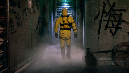 A medic in a bacteriological protection suit returns home. Man in yellow protective suits and gas masks. 3D Rendering.
