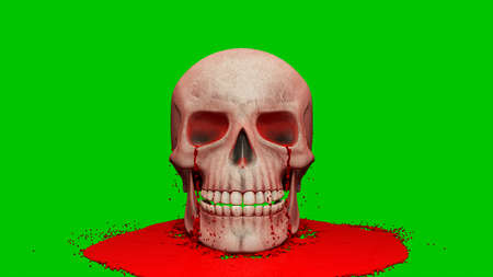 Thick red blood pours onto the human skull. 3D Rendering. Imagens - 147901135