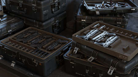 Boxes with modern weapons and ammunition in a military warehouse. 3D Rendering.