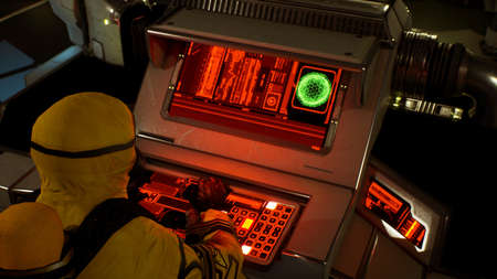 A medic in protective chemical clothing is working at a computer. A man in a yellow bacteriological protective suit and gas mask. 3D Rendering.