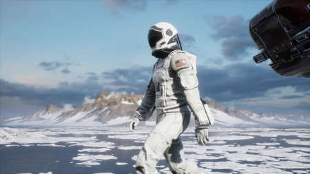 An astronaut-scientist studies a new unusual planet covered with ice and snow. Animation for fantasy, futuristic or space travel backgrounds. 3D Rendering.
