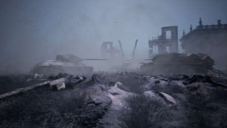 Military tanks from the second world war lie smashed on the battlefield next to human remains and the ruins of houses. The concept of war and the Apocalypse. 3D Rendering Banque d'images