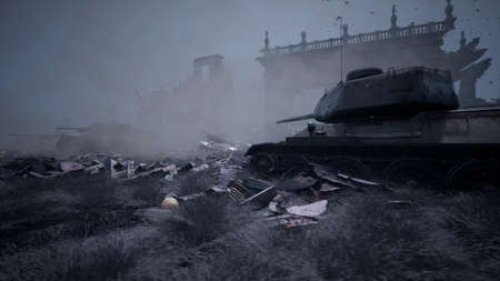 Military tanks from the second world war lie smashed on the battlefield next to human remains and the ruins of houses. The concept of war and the Apocalypse. 3D Rendering Stock fotó