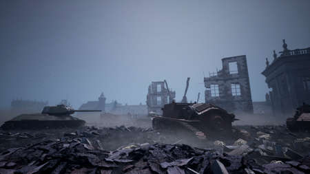 Military tanks from the second world war lie smashed on the battlefield next to human remains and the ruins of houses. The concept of war and the Apocalypse. 3D Rendering