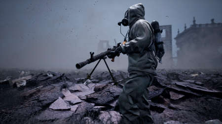 A soldier in a gas mask, military protective clothing and a machine gun walks past the ruins and human remains. 3D Rendering