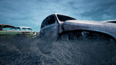 Car dump of old abandoned cars. Rusty damaged cars. A lot of destroyed, ruined, abandoned cars. 3D Rendering Zdjęcie Seryjne