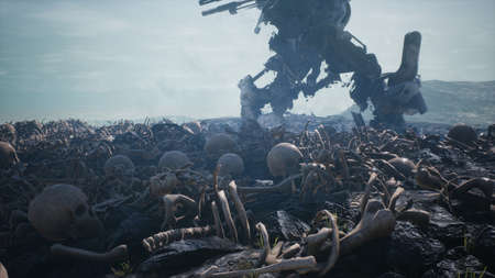Military mech are walking on a battlefield covered with human bones and skulls. The concept of the future Apocalypse. 3D Rendering Banque d'images