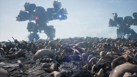 Military mech are walking on a battlefield covered with human bones and skulls. The concept of the future Apocalypse. 3D Rendering Фото со стока