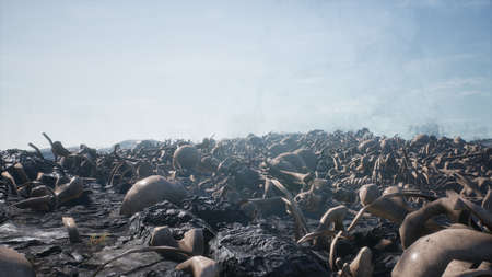 Old human skulls and bones left over from the battle. The concept of war and the Apocalypse. 3D Rendering Stok Fotoğraf