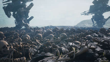 Military mech are walking on a battlefield covered with human bones and skulls. The concept of the future Apocalypse. 3D Rendering Stok Fotoğraf