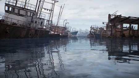 Rusty abandoned ships in the sea bay. Destroyed abandoned industrial ships. 3D Rendering Zdjęcie Seryjne