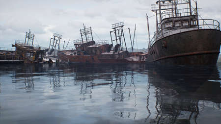 Rusty abandoned ships in the sea bay. Destroyed abandoned industrial ships. 3D Rendering Фото со стока