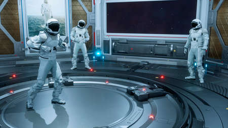 Astronauts relax and have fun on their spaceship. The concept is for fantastic, the futuristic or space travel backgrounds. 3D Rendering Stok Fotoğraf