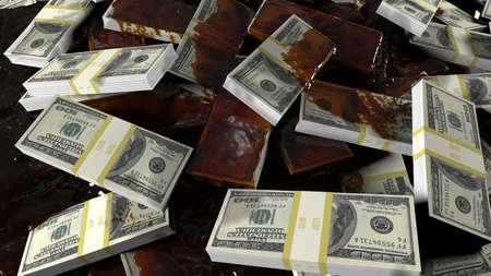 Crude oil floods scattered bundles of hundred-dollar bills. Concept for business, oil, and financial backgrounds. 3D Rendering Stok Fotoğraf
