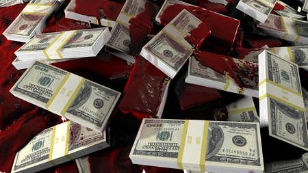 Blood flows to scattered bundles of hundred-dollar banknotes. Concept for business, criminal, financial, political or medical backgrounds. 3D Rendering