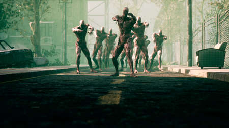 The zombies are walking through an abandoned and deserted city. The concept of the zombie-apocalypse for fantasy, fiction, zombie and apocalypse backgrounds. 3D Rendering