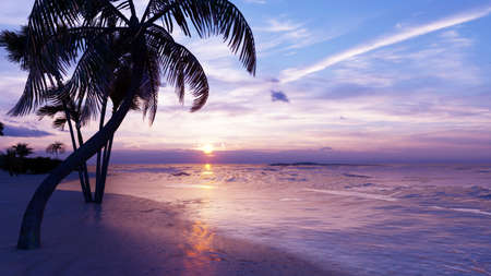 Beautiful sunset over the endless evening ocean. Blue sky, yellow sun, palm trees, endless sea and seascape. In summer, an amazing sunset on the sea coast. 3D Rendering Stok Fotoğraf