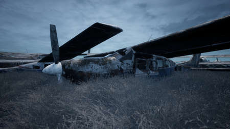 Rusty and broken planes stand in a field against a hazy blue sky. A lot of destroyed, destroyed, abandoned planes. 3D Rendering