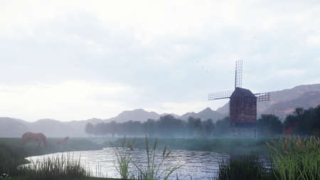 A rural misty morning landscape with an old windmill and horses next to a pond, grasses and plants swaying in the wind background a cloudy sky. 3D Rendering Stok Fotoğraf