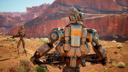 Military robot-android in the desert surveys the territory. 3D Rendering. Stok Fotoğraf