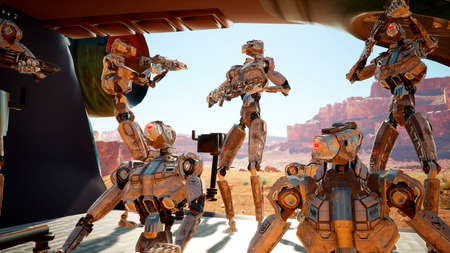 Military robots-androids arrived on a spaceship to an alien planet for its colonization. 3D Rendering.