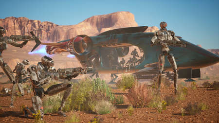 Military robots leave the planet on a transport spacecraft. 3D Rendering.